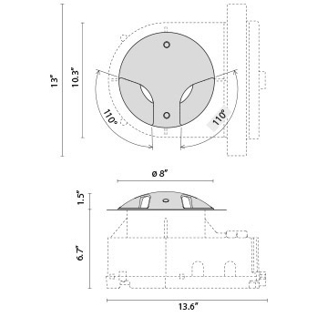 Tech Design STEEL ROUND COMPACT LED 180°