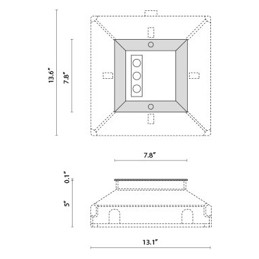 Tech Design STEEL SQUARE 20 SIDE - 3 LED ELL 10°X45