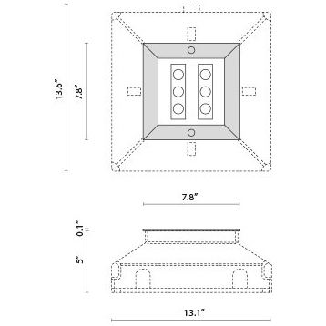 Tech Design STEEL SQUARE 20 - 6 LED ELL 10°X45°