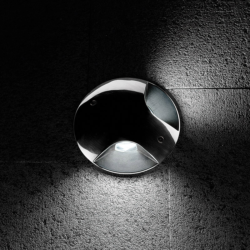 STEEL ROUND COMPACT LED 180°