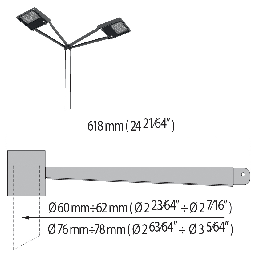 "Double arm at 90° with pole top Ø 60÷76 mm/Ø 2.36""÷2.99"" SQUARE+1"