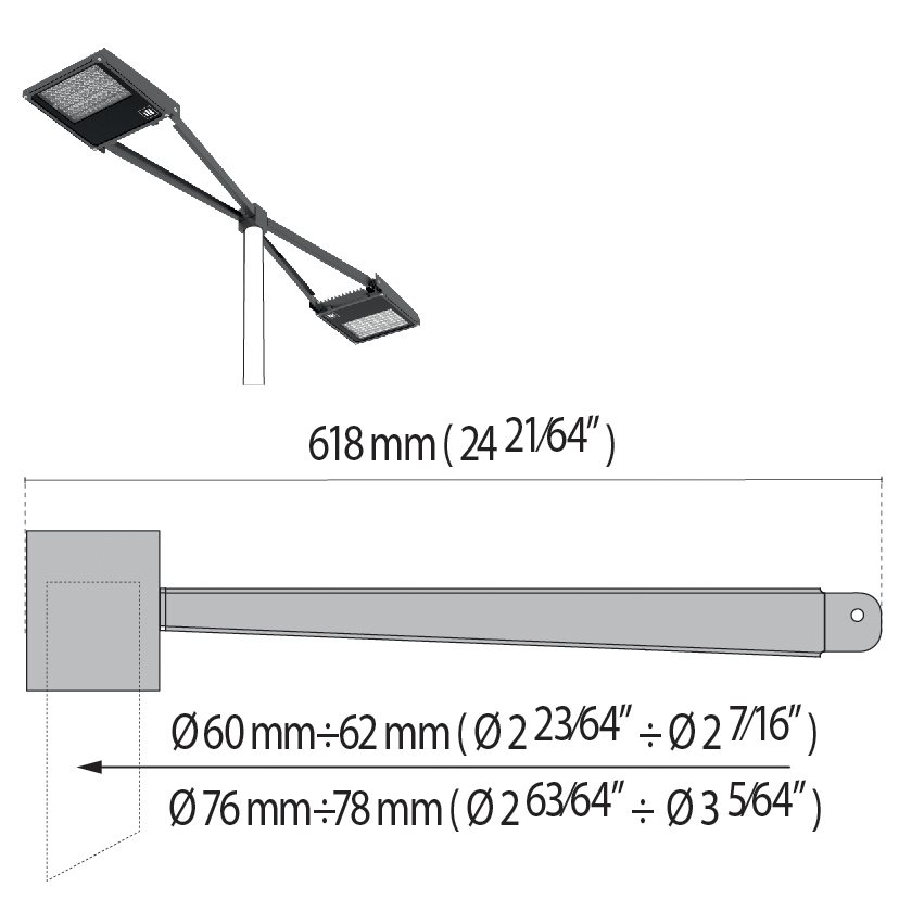 "Double arm at 180° with pole top Ø 60÷76 mm/Ø 2.36""÷2.99"" SQUARE+1"
