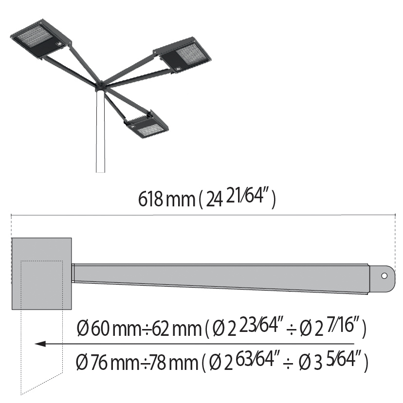 "Triple arm at 90° with pole top Ø 60÷76 mm/Ø 2.36""÷2.99"" SQUARE+1"