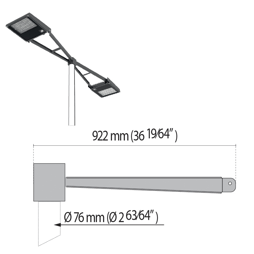 "Double arm at 180° with pole top Ø 76 mm/Ø 2.99"" SQUARE+2"