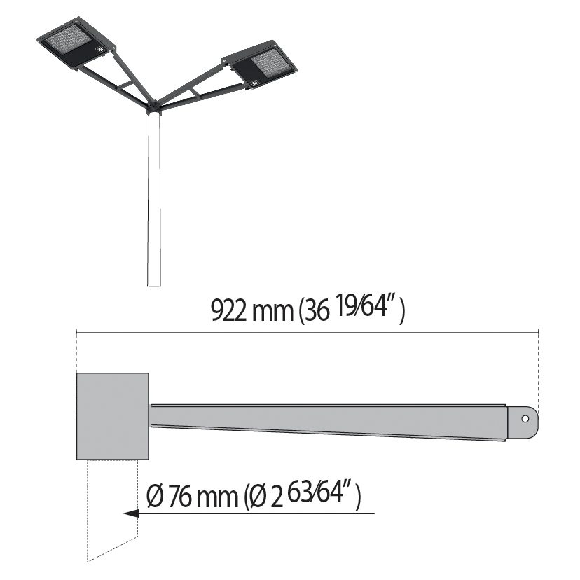 "Double arm at 90° with pole top Ø 76 mm/Ø 2.99"" SQUARE+2"