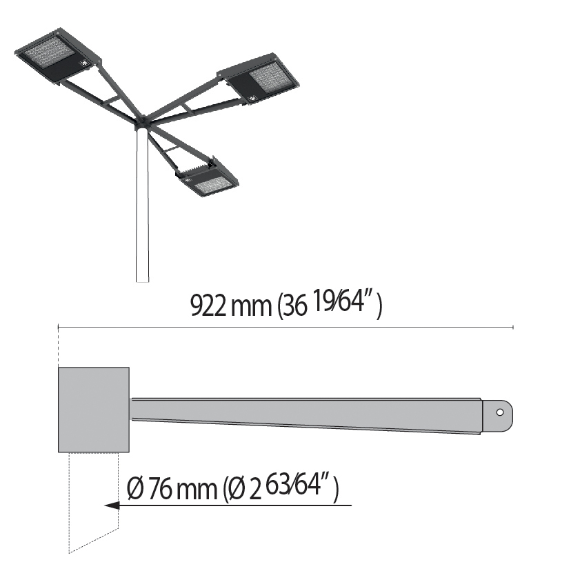 "Triple arm at 90° with pole top Ø 76 mm/Ø 2.99"" SQUARE+2"
