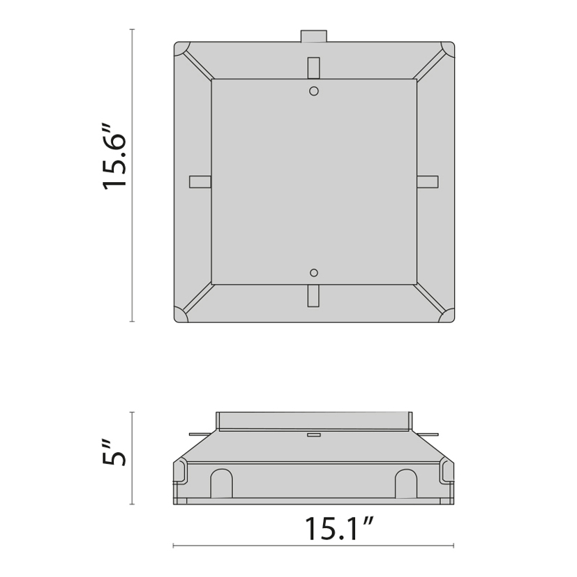 Steel Recessed Fixing Kit, Square 28